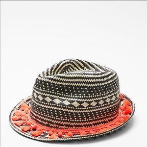 Express fedora black orange Pom boho hat Nwt